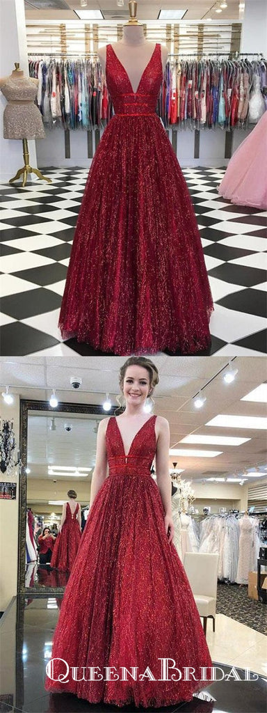 Sparkly Burgundy Sequins Cheap Long V Neck A Line Prom Dresses, QB0593