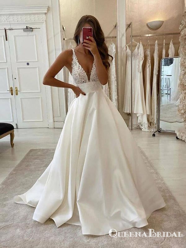 Newest Deep V-neck Sleeveless White Satin Top Lace Appliqued A-line Long Cheap Evening Prom Dresses, PDS0035