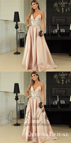 A-Line Spaghetti Straps Long Pink Prom Dresses with Beading, QB0496