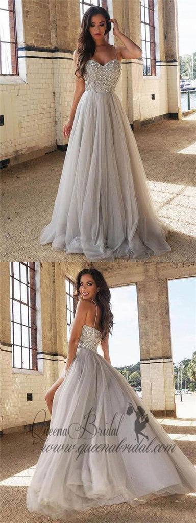 A-line/Princess Sweetheart Neck Silver Tulle Long Prom Dresses, QB0344