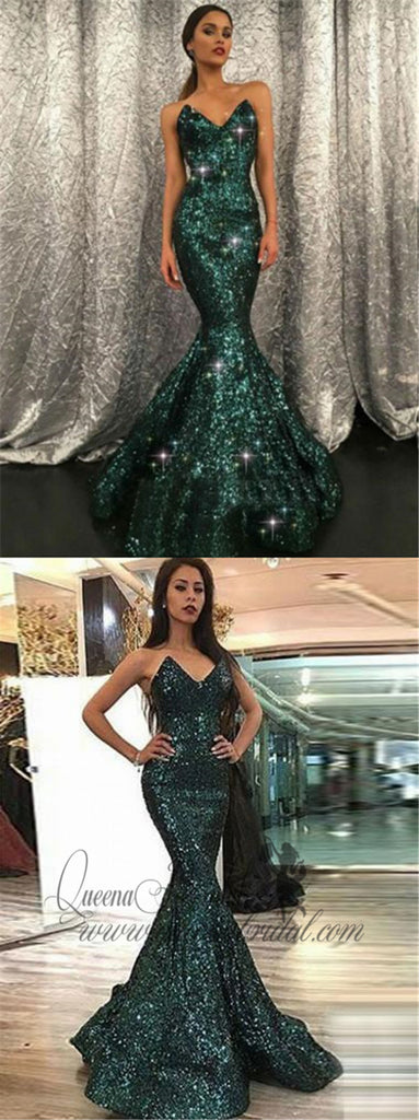 2019 Sparkly V Neck Green Sequin Custom Long Evening Prom Dresses, QB0448