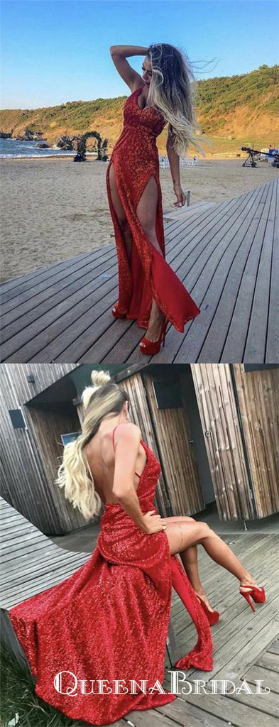 Sexy Mermaid Red V Neck  Long Cheap Prom Dresses With Side slit, QB0631