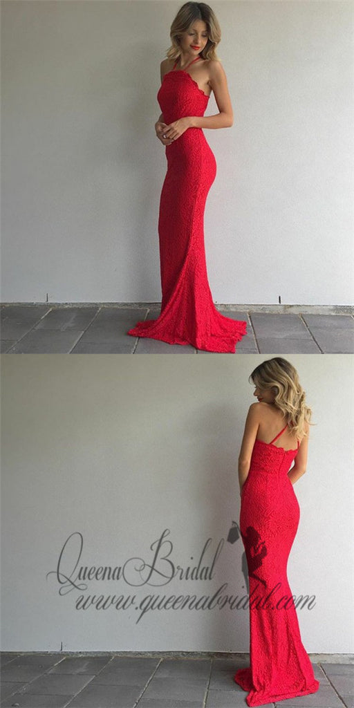 Mermaid Halter Backless Sweep Train Red Lace Prom Dresses Online, QB0249