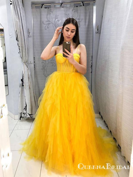 Elegant Charming Spaghetti Strap Yellow Organza A-line Long Cheap Formal Evening Party Prom Dresses, PDS0040