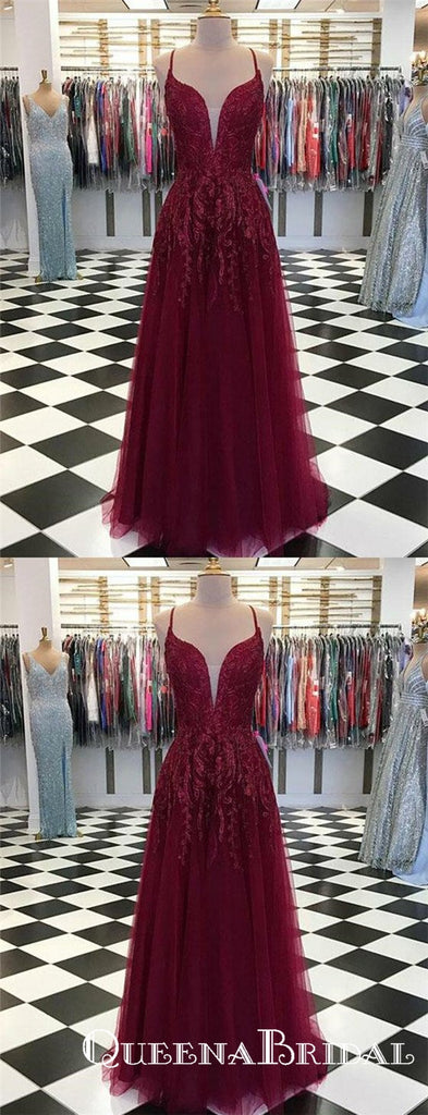 Deep V Neck Burgundy Long Appliques Evening Party Prom Dresses, QB0756