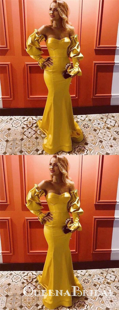 Yellow Long Mermaid Evening Gowns Sweetheart Prom Dresses with Sleeves, QB0774
