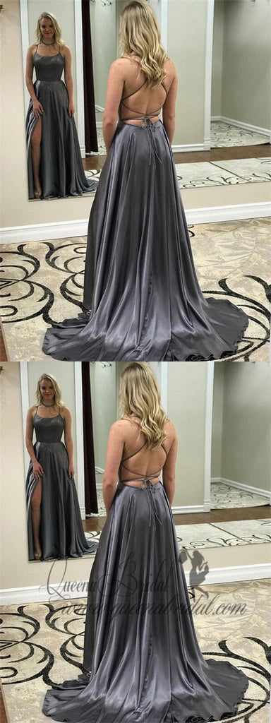 Dark Grey Spaghetti Strap Prom Dresses Open Back Long Prom Dresses with Slit, QB0312