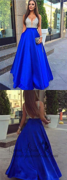 A-line V-neck Beaded Bodice Royal Blue Long Prom Dresses with Pocket, QB0317