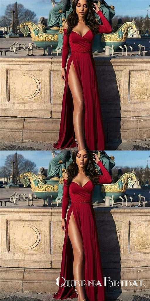 Sexy Off-Shoulder Long Sleeves Long Burgundy Prom Dresses with Split, QB0505