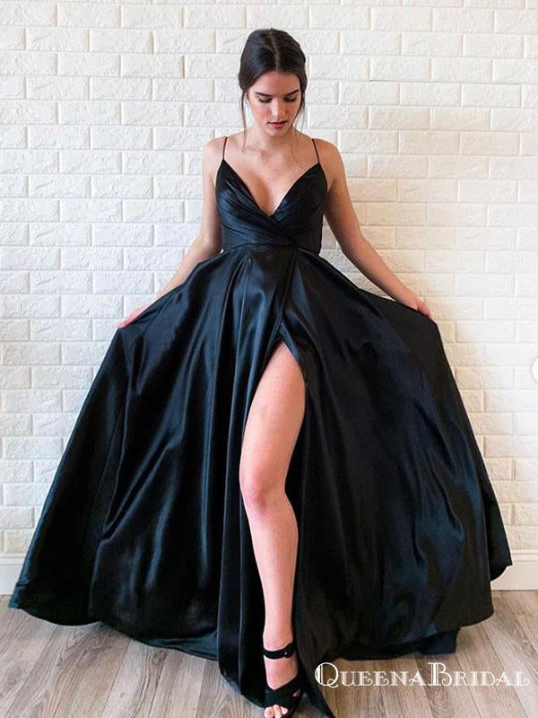 Simple Chaming  A Line V-Neck Floor Length Black Satin Sexy Side Slit Prom Dresses With Pleats, PDS0051
