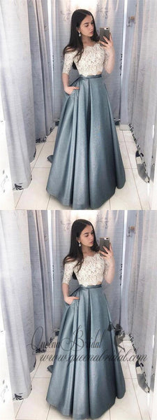 Two Pieces Half Sleeve Lace Grey Long Evening Prom Dresses, QB0421