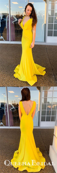 Elegant Mermaid V-Back Ruched Long Cheap Yellow Prom Dresses, QB0765