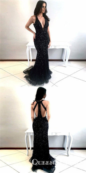 Mermaid Deep V-Neck Open Back Black Prom Dresses with Beading, QB0509