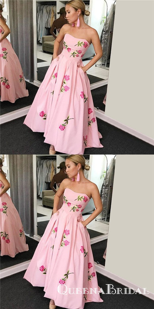 A-Line Sweetheart Pink Long Cheap Prom Dresses with Embroidery&Pockets, QB0502