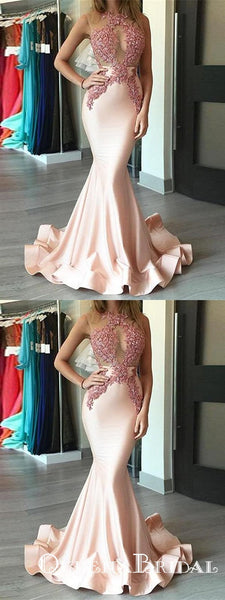 Chic Mermaid Pink Cheap Long Cheap Prom Dresses With Applique, QB0699