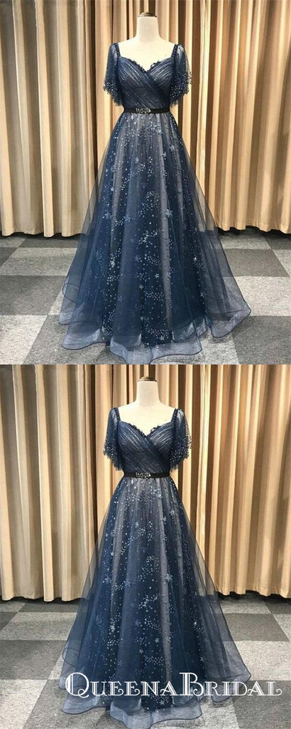 Unique Blue Short Sleeve V Neck Long Cheap Prom Dresses, QB0654