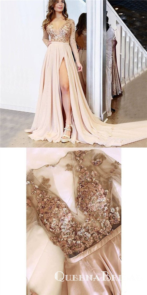 A Line V neck Long Sleeves Light Champagne Prom Dresses With Appliques, QB0587