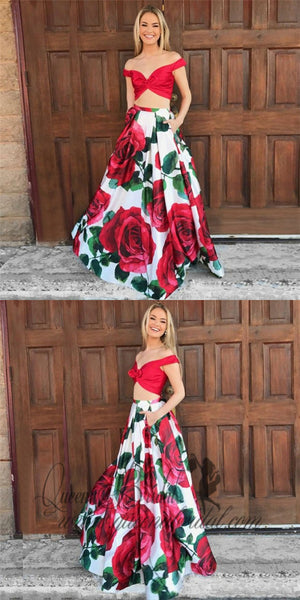 Two Piece Spaghetti Straps Floral Red Satin Prom Dresses with Bow Pockets, QB0252