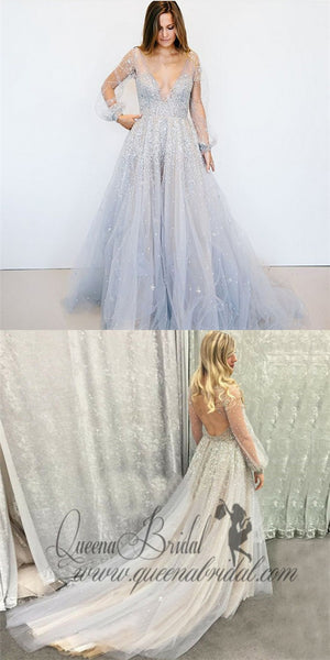 A-Line Deep V-Neck Puff Long Sleeves Grey Tulle Prom Dresses with Beading, QB0236