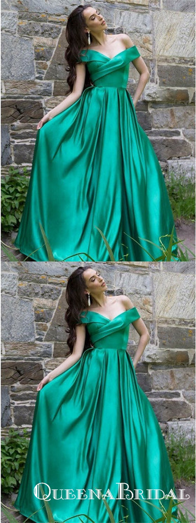 A-Line Off the Shoulder Green Floor Length Formal Prom Dresses, QB0768