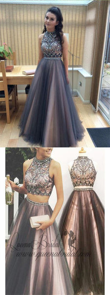 A-line Halter High Neck Beaded Top Tulle Two Piece Long Prom Dresses, QB0277