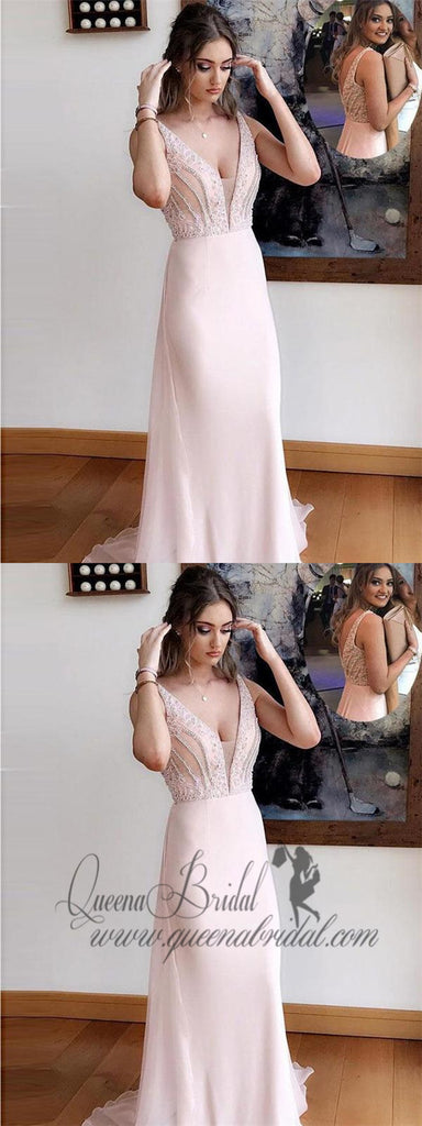 Light Pink Wedding Guest Dresses V Neck Beaded Prom Dresses Evening Gowns, QB0313