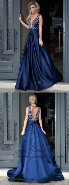 A-line V-neck Beaded Bodice Navy Blue Satin Long Prom Dresses, QB0346