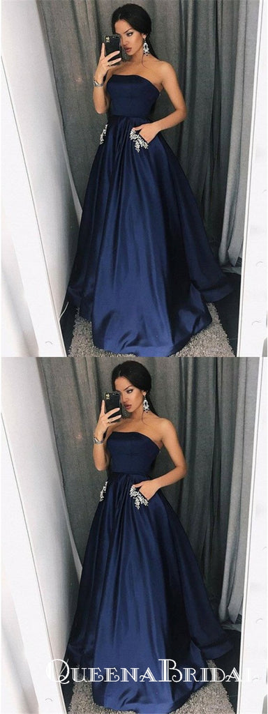 A-Line Straight Neck Sleeveless Navy Blue Long Prom Dresses With Beaded, QB0739