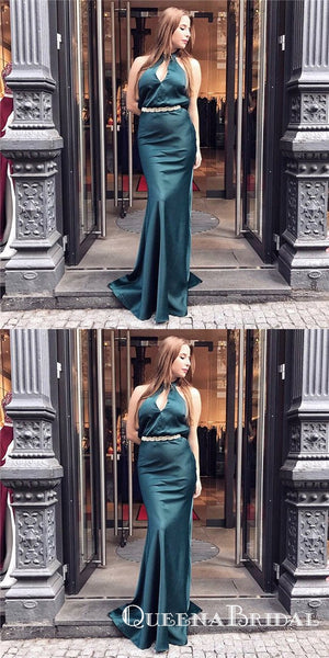 Sexy Mermaid High Neck Long Dark Green Prom Dresses with Keyhole, QB0516