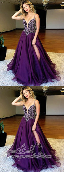 Purple Spaghetti Straps Side Slit Heavily Beaded Long Evening Prom Dresses, QB0380