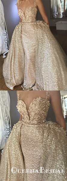Mermaid Light Champagne Sequined Appliques Prom Dresses, QB0538