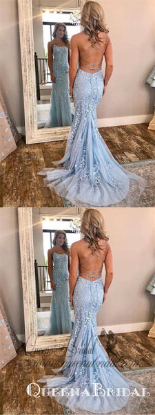 Spaghetti Strap Sky Blue Mermaid Prom Dresses Backless Pageant Formal Dresses, QB0332
