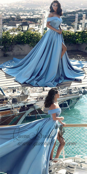 A-Line Off the Shoulder Split Front Light Blue Satin Prom Dresses with Pleats, QB0238