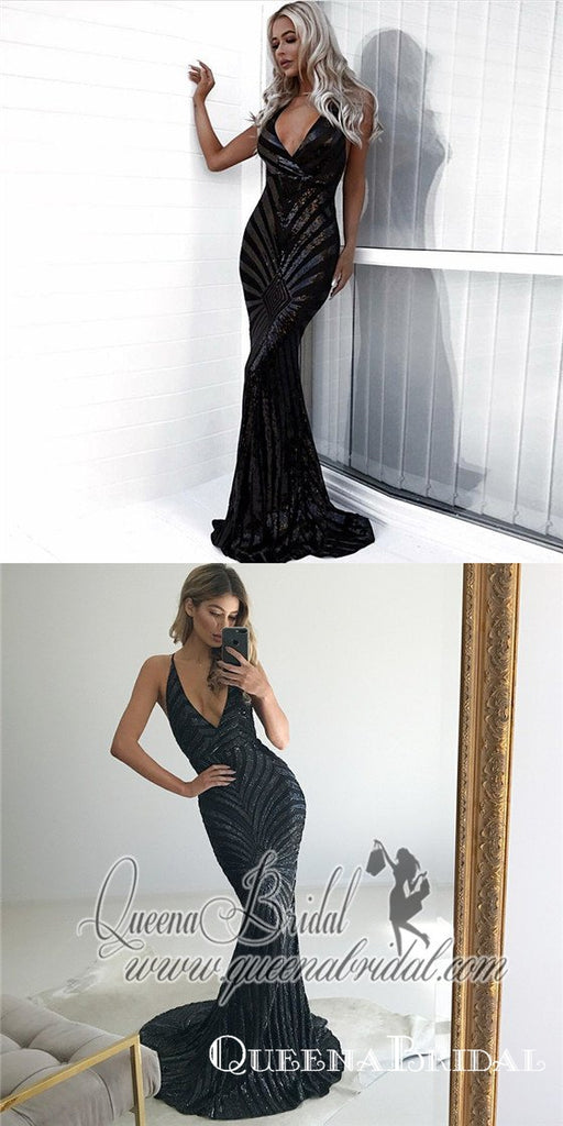 Mermaid Spaghetti Strap Backless Long Black Sequined Prom Dresses, QB0498