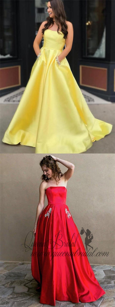 A-line Strapless Simple Long Cheap Red Prom Dresses with Pocket, QB0296