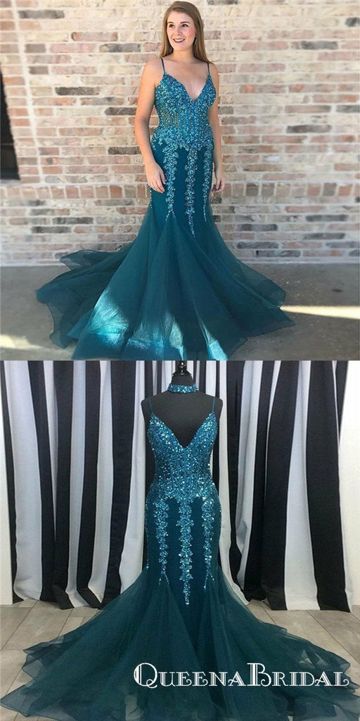 Mermaid Spaghetti Straps Turquoise Prom Dresses with Appliques&Beaded, QB0539
