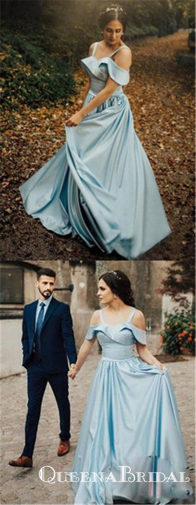 Elegant A-Line Off the Shoulder Blue Satin Long Prom Dresses, QB0570