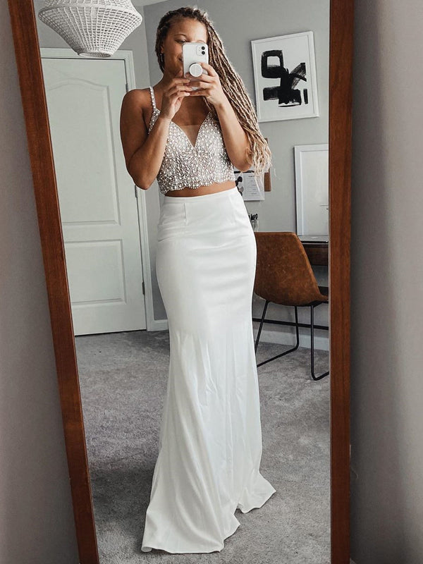 Two Pieces Spaghetti Strap Ivory Satin Mermaid Long Cheap Prom Dresses, PDS0101