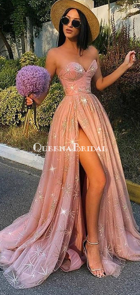 Charming Sweetheart Pink Tulle A-line Long Cheap Prom Dresses, PDS0104