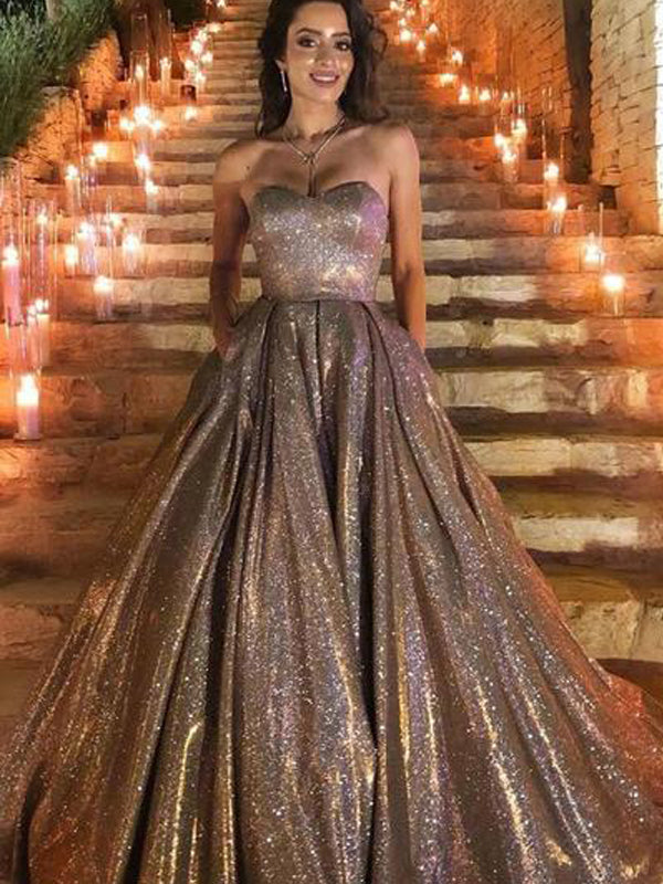 Sweetheart Newest Gold Sequin A-line Long Cheap Prom Dresses, PDS0087