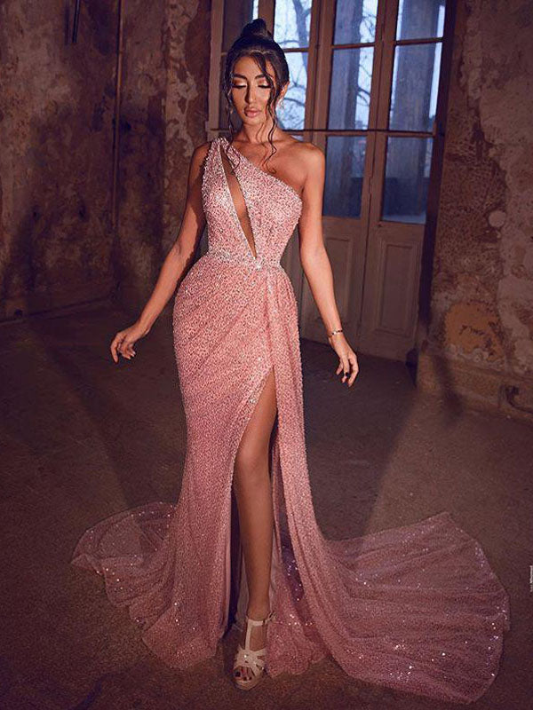 Sexy One Shoulder Sleeveless Pink Sequin Mermaid Long Cheap Prom Dresses, PDS0092