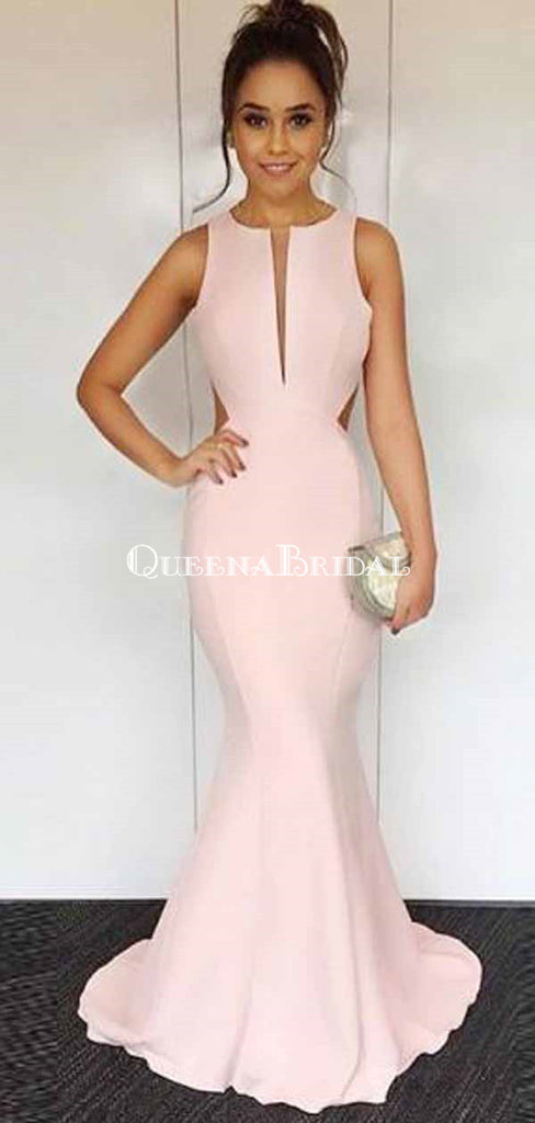 Mermaid Round Neck Sleeveless Open Back Pink Satin Prom Dresses, QB0239