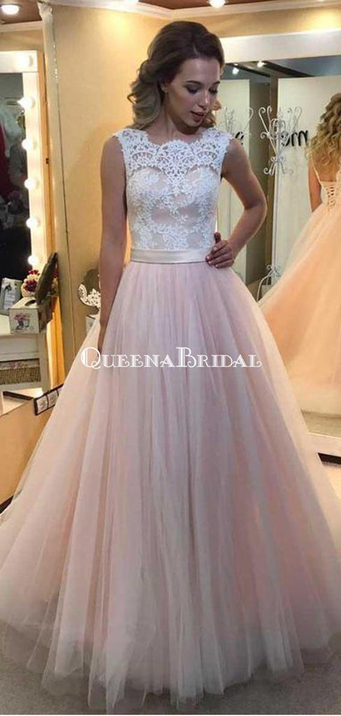 A-line Light Pink Tulle Prom Dresses White Lace Applique Quinceanera Dresses, QB0341