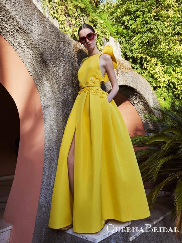 Unique Design Yellow Satin Sexy Backless A-line Long Cheap Prom Dresses, PDS0074
