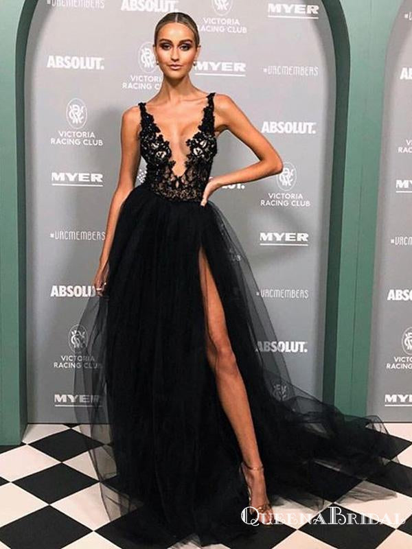 Sexy V-neck Straps Black Tulle Lace Appliqued Side Slit A-line Long Cheap Prom Dresses, PDS0068