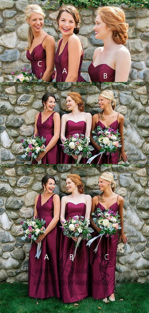 2019 A-Line V-Neck Long Fuchsia Satin Bridesmaid Dresses, QB0488