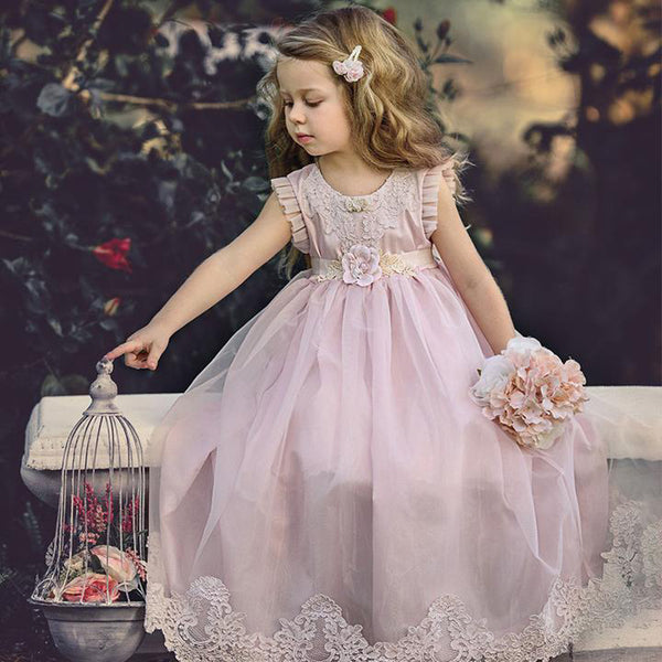 126f12c1af Cheap Pink Tulle Lace Applique Ball Gown Little Long Flower Girl Dresses,  QB0005