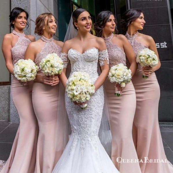 Charming Mermaid Halter Backless Blush Bridesmaid Dresses with Applique, QB0747