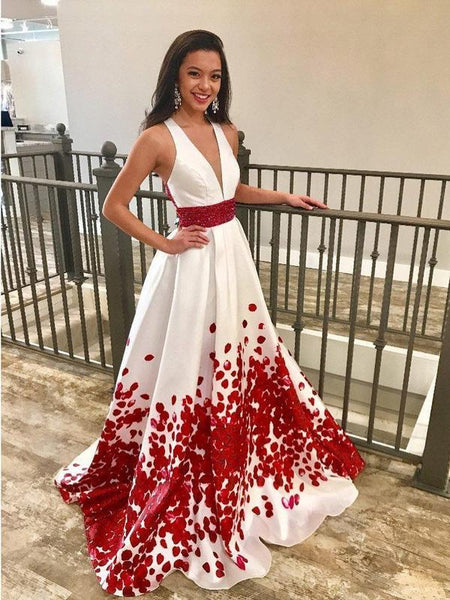 Red Beaded Floal Printed Long Prom Dresses with Deep V-Neck Formal Dress Plus Size, QB0339