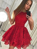 Red Cap Sleeve Lace Cheap Short Homecoming Dresses with Bow Knot, QB0211